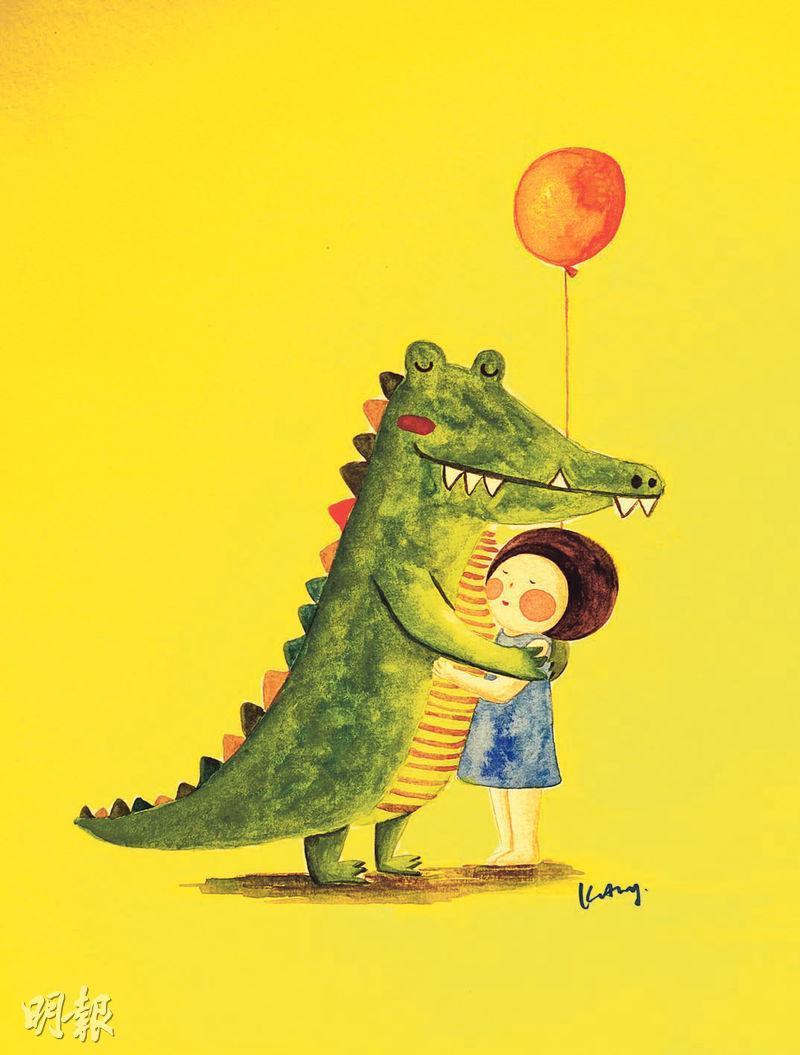 畫作中的鱷魚代表恐懼,早期小半的圓臉被一巨大的鱷魚口團團包着(大相),但她現在已懂得跟恐懼好好相處。(相片由受訪者提供)