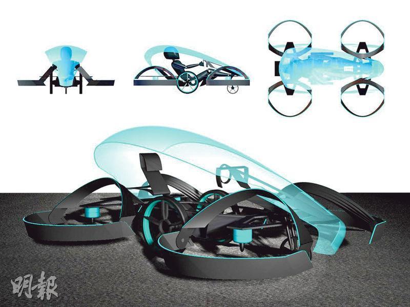 Cartivator研發的飛天車可容一人坐着操控,外形恍如放大版的無人機,預定飛行高度10米,行駛速度可達每小時150公里。(網上圖片)