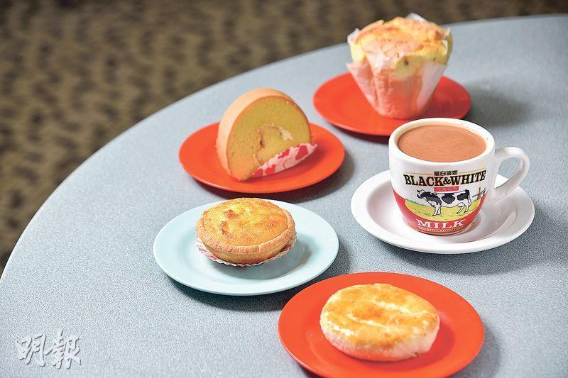 糕餅奶茶——紙包蛋糕、椰撻、老婆餅、瑞士卷等,俱在店內製作,每天分幾輪出爐。奶茶則以3款茶葉自家混成茶底,先用白洋布袋裝着,再撞入滾水,並倒入黑白淡奶。入口如絲滑,濃中帶甘,放久也不澀口。(糕餅,$7;熱奶茶,$16;B)(圖:黃志東)
