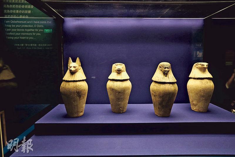 昔日古埃及人將死者的內臟從胸腔及腹部取出後,會獨立防腐處理,其後放進卡諾皮克罐(圖)。上述展品是在一個名為節德巴斯迪方克的男子墳墓內發現。死者器官通常會分成4組存放,4個卡諾皮克罐各由守護神荷露斯的4名兒子保護。左起的設計為胡狼(代表守護神兒子德艾姆特夫)、狒狒(代表守護神兒子哈皮)、人頭(代表守護神兒子伊姆式蒂)、鷹隼(代表守護神兒子蓋貝塞綠夫)。(李紹昌攝)