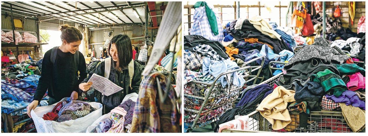 賽前工作坊﹕2015/16年度兩位總決賽人選Cora Bellotto(左)及潘問(右)出席賽前工作坊,地點為新界某回收工廠,今屆參賽者也同樣會進行工作坊。(相片由品牌提供)