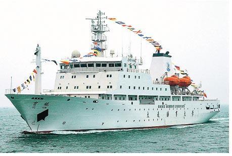 為慶祝香港回歸20周年而訪港嘅專用遠洋實習船「育鯤輪」,航速每小時18海里,持續航行能力10000海里,係目前世界上最先進嘅專用遠洋實習船。(海港城提供)