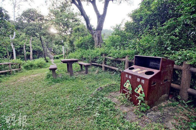 漁護署計劃今年底前移除遠足徑餘下合共257個垃圾箱,但不包括康樂場地如燒烤場和露營場地的垃圾箱。圖為金山郊野公園內的回收箱。(楊柏賢攝)