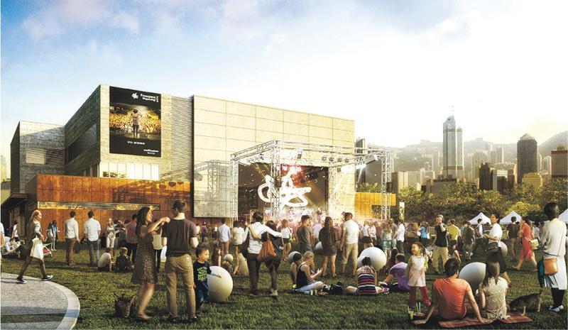 緊接戲曲中心開幕的另一表演場地是圖中的自由空間,暫定2019年4月開幕,坐落日後文化區藝術公園正中央,內裏設黑盒劇場,可容納450個座位或900個企位;在大草坪的戶外舞台則如圖所示,可舉辦逾萬人的大型活動。(西九管理局提供)