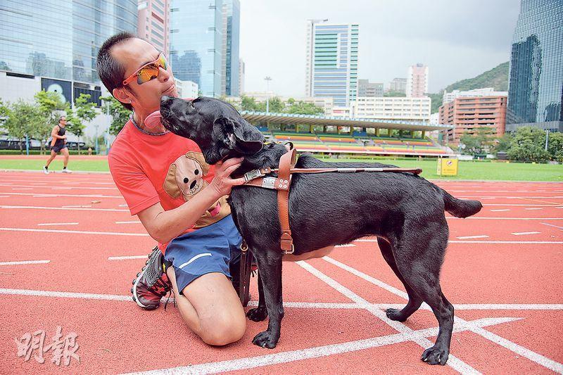 視障跑手梁小偉(左)下月將赴台灣挑戰環台跑,為香港導盲犬協會籌款,將會有19名領跑員陪伴他完成創舉。梁小偉笑言離港3星期會十分不捨得導盲犬Gaga(右),故會全力以赴盡快回港與Gaga團聚。(黃志東攝)