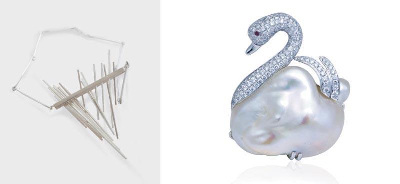 陸嘉雯的作品,左圖名為「動感 (Motion)」的銀頸鏈作品,靈感來自裝飾藝術。右圖為「美麗的天鵝 (Bonny Swan)」胸口針,是利用不規則的珍珠和 18K 紅寶石鑲嵌鑽石而成。
