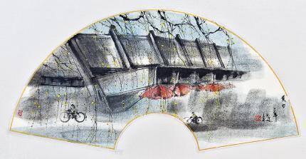 《夏日》——洪潔薇的第四次個人展覽「思.夢.未圓」現於中文大學崇基學院行政樓大堂展覽廳舉行(展期至11月28日),圖為她在是次展覽為母校製作的扇面作品《夏日》。(圖﹕受訪者提供)