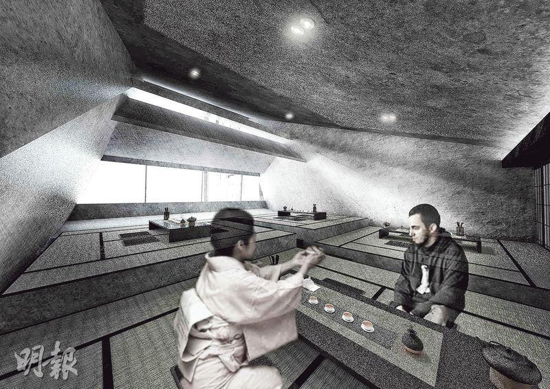 朱家穎嘅得獎作品「靜音茶館」以沙田城門河畔畫舫為藍本,加入日式茶座風格,強調要用自然光。(知專提供)