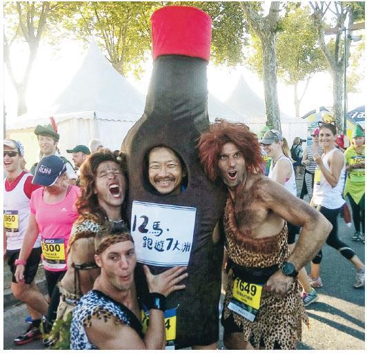Andes曾到法國跑馬拉松(Le Marathon du Médoc),沿途有酒、芝士、牛肉,以至生蠔供應,讓他見識到馬拉松的多元化,亦想把這文化引入香港。(相片由受訪者提供)