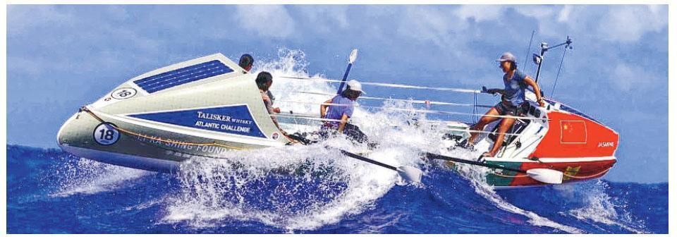 「功夫茶茶」的艇不足4平方米大,裝滿不同物資。她們由西班牙戈梅拉島划行到中美洲島國安提瓜及巴布達,全程3000海里(約5000公里)。(Talisker Whisky Atlantic Challenge相片)