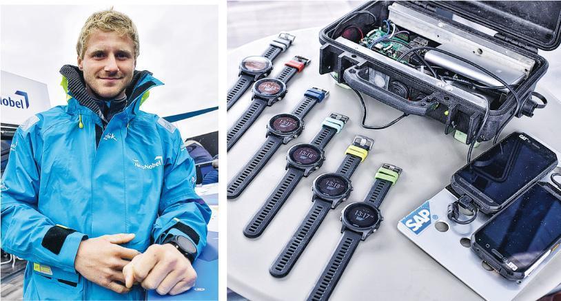 AkzoNobel隊值班船長Nicolai Sehested(左圖)有10年航海經驗,他認為可收集生理數據的穿戴式裝置(右圖),應用在帆船的技術仍處起步階段,只能作參考,航海經驗還是較重要。他相信該技術成熟後,將於未來的帆船上大派用場。(蘇智鑫攝)