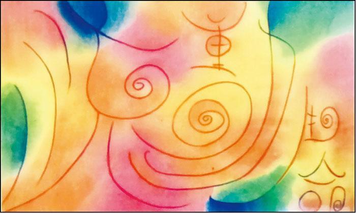 樹單與周兆祥(2008年創立流動生命)一起作畫。樹單畫上流動生命的線條,周兆祥就把畫紙塗滿色彩。(相片由受訪者提供)
