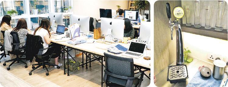 返工啤一啤?——徐緣的辦公室無間隔卻有啤酒機和遊戲機,希望員工可以work life balance和打成一片,不玩辦公室政治消耗精力。(圖:張美珊)