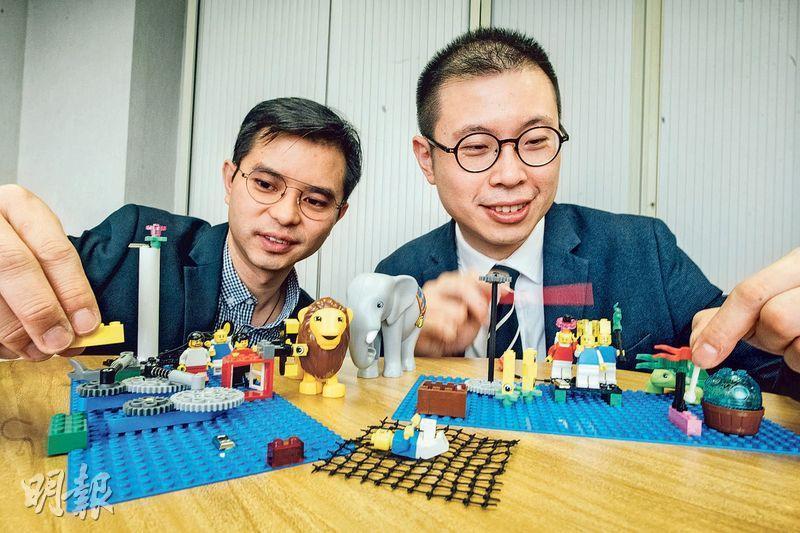 指引導師——伍進超(右)與周世灝(左)同為LEGO Serious Play的指引導師,他們希望透過工作坊跟大家一起尋找隱藏在日常生活中的問題,達至個人成長或企業擴展的目的。(圖:馮凱鍵)