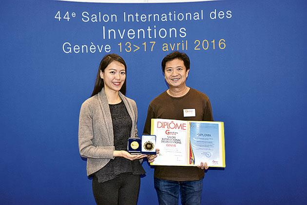 翁教授與研究團隊在2016 年「日內瓦國際發明展」 獲頒「醫學組金獎」及「高科學技術發明獎」。