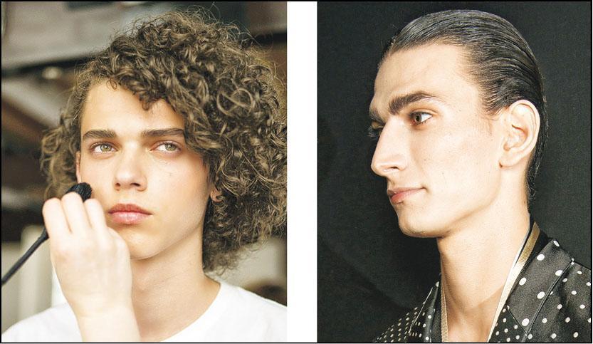注重眉妝﹕2018春夏男裝季度,不少品牌均為男模化上自然簡潔妝容。當中尤其注重眉妝部分,切忌太長或太幼。(左:Yohji Yamamoto、右:Haider Ackermann)(圖:IMAXtree)