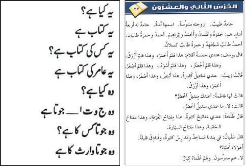 烏爾都語 (左) 及阿拉伯語 (右) 字型同樣又細又長,學習時容易混淆。