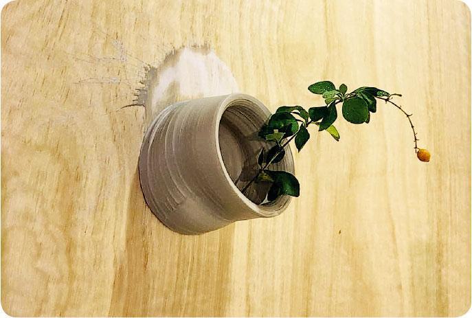 合力創作——參加者於黏在牆上的陶泥插上植物,合力創作成裝置藝術。(圖:街市博物館)