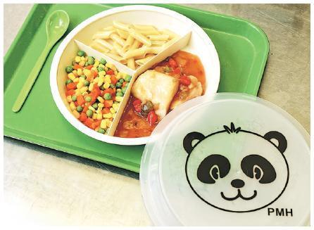 為增加留醫兒童病房小朋友的食慾,瑪嘉烈醫院除了用一些色彩較鮮艷的食材外,亦另購可愛餐具,吸引他們進食。(瑪嘉烈醫院提供)