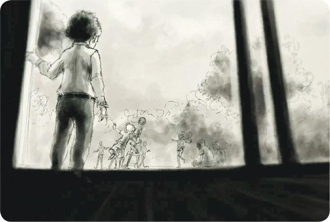 配角使者——Owen在紀錄片中朗讀自己原創故事,講述小男生某晚被大風暴喚醒,開始保護他心愛的迪士尼配角。(圖:安樂影片)