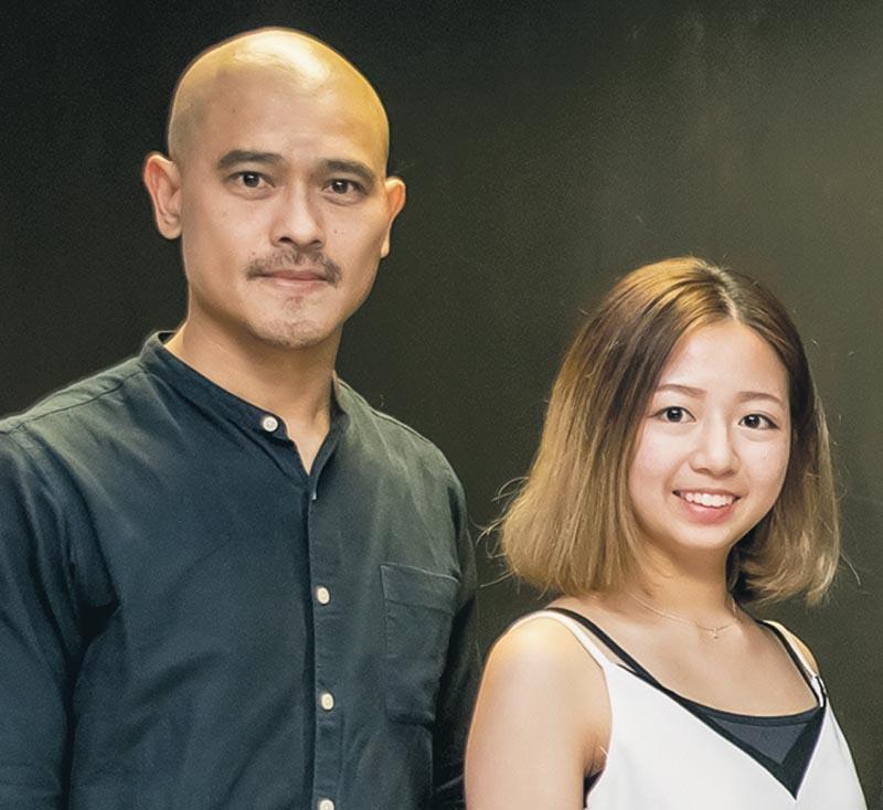 左起:明愛白英奇專業學校設計學系系主任林仲強、「設計學高級文憑 (時裝設計)」課程學員Emily