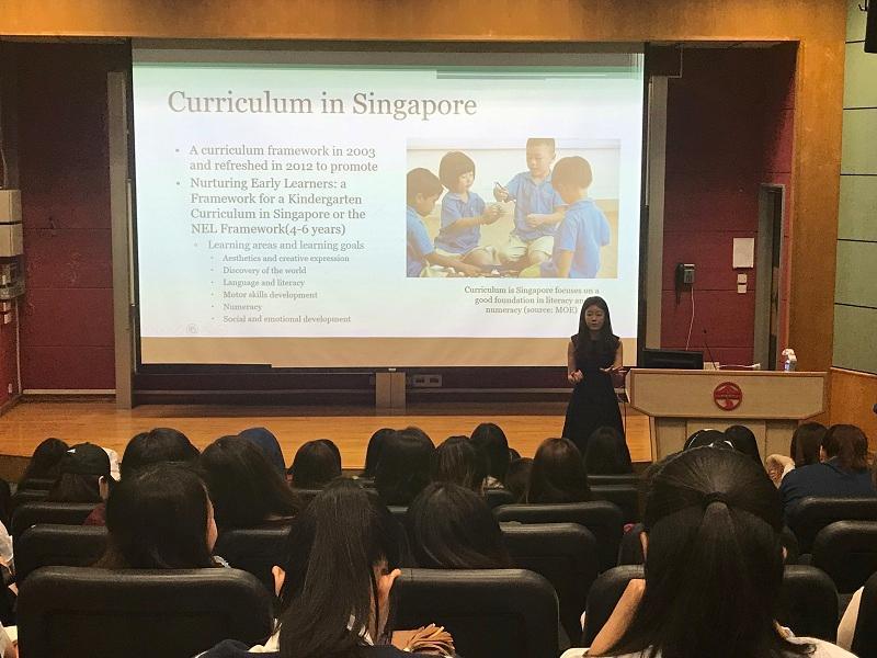 學院邀得南韓瑚山大學前助理教授Hye Won Kim博士,在《幼兒教育課程之實踐與推行》的課堂上,與同學分享她在南韓和新加坡幼稚園的教學經驗,以及對兩國幼兒教育制度的見解。(相片由 LIFE 提供)