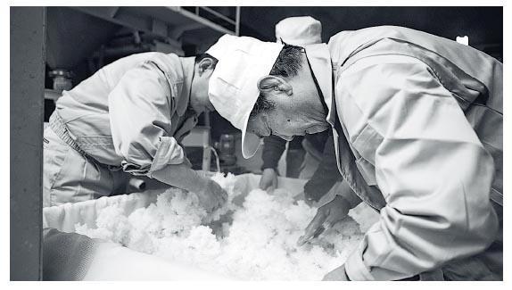 為讓麴菌更好地在蒸米上繁殖,釀酒師會慢慢拆細米粒。(受訪者提供)