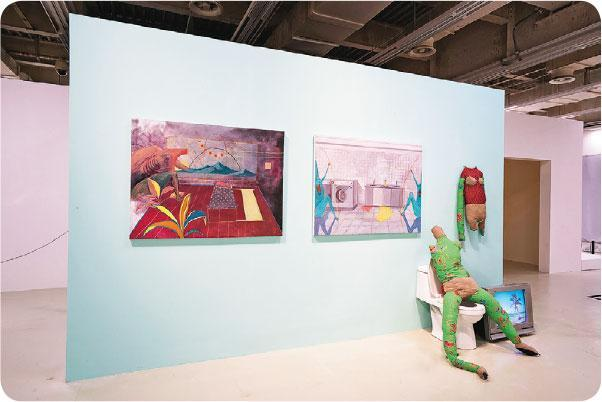 人與感冒——陳嘉翹的錄像裝置《換了是你,也會這樣做》和油畫《我等着你回來》的靈感來自對感冒病菌的想像。(South Ho提供)