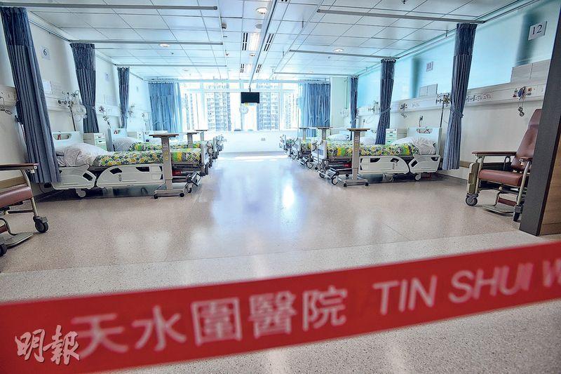 天水圍醫院在明日正式展開24小時急症室服務,同日增設一間綜合專科病房(圖),提供32張病牀,並最多可容納52張病牀,主要接收病情較簡單的長期病患者,重症病人仍需轉院。(楊柏賢攝)