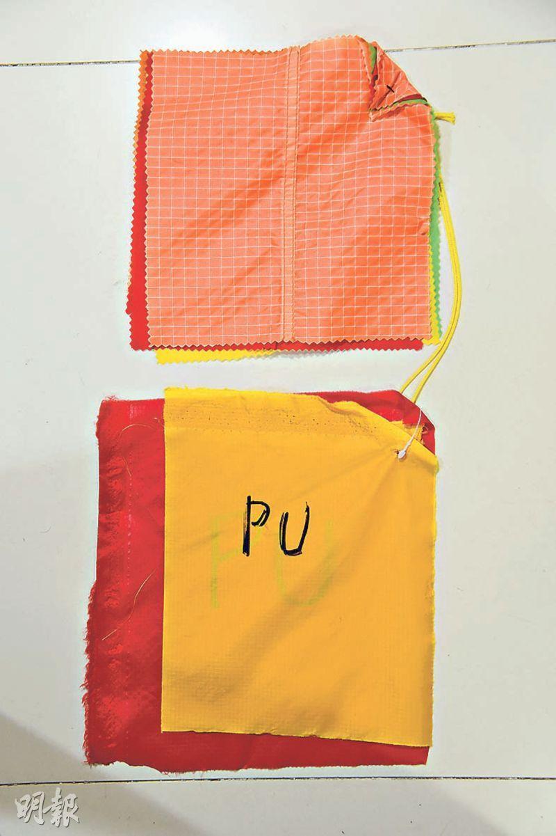 帳幕物料﹕Tara本身是帳幕設計師,他指帳幕物料一般分成Double Silicon(上)和PU Coating(下)兩種。相比起來,後者表面保護膜容易因潮濕天氣而脫落、變得黏立立,因此他認為前者較適合在香港使用。(黃志東攝)