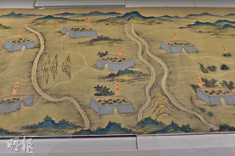 科學館嘅「絲路山水地圖展」展出《絲路山水地圖》,描繪東起甘肅嘉峪關,西達沙特阿拉伯麥加之間嘅廣闊地域,當中標註咗兩百多個地名。(馮凱鍵攝)