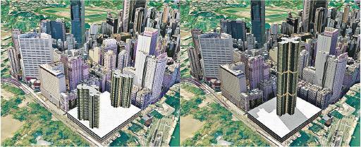 規劃署的系統可如圖中比較不同設計方案,如比較兩幢較矮建築(左)與一幢很高的單幢樓設計(右),能否與社區其他建築互相融合。(規劃署提供)