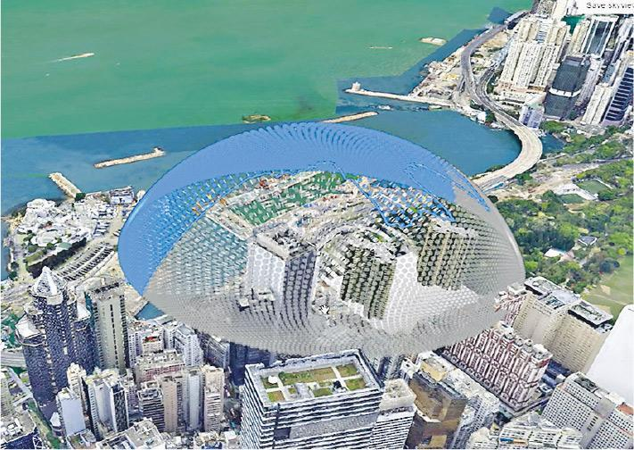 圖中可見,規劃署的3D規劃及設計系統可按擬議的設計方案做天空遮蔽率的分析,藍色範圍可直接看到天空,灰色範圍的視野則被遮擋。(規劃署提供)