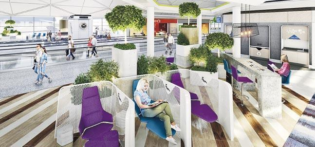 機管局計劃在一號客運大樓引入多6款座位,例如餐桌椅、類似自修室的辦公座位、較舒適的單人座位等,日後亦會研究在餐桌椅區域提供點餐服務。(機管局模擬圖)