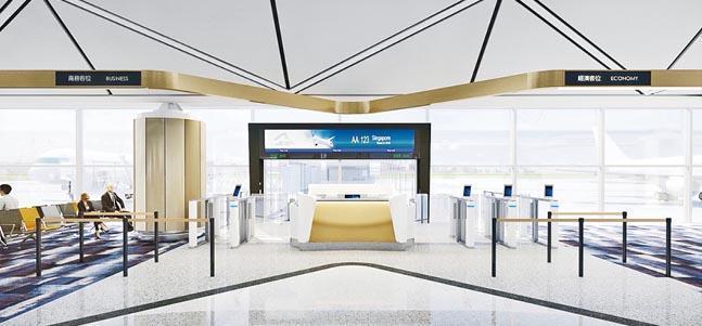 機管局計劃在一號客運大樓引入設面容識別技術的智能登機閘口(圖右三個,圖左一個),系統會識別乘客面容,乘客毋須出示護照等就可登機,預計明年初開始有登機閘口啟用,每個登機閘口會有4個智能閘口,亦會保留傳統櫃位。(機管局模擬圖)