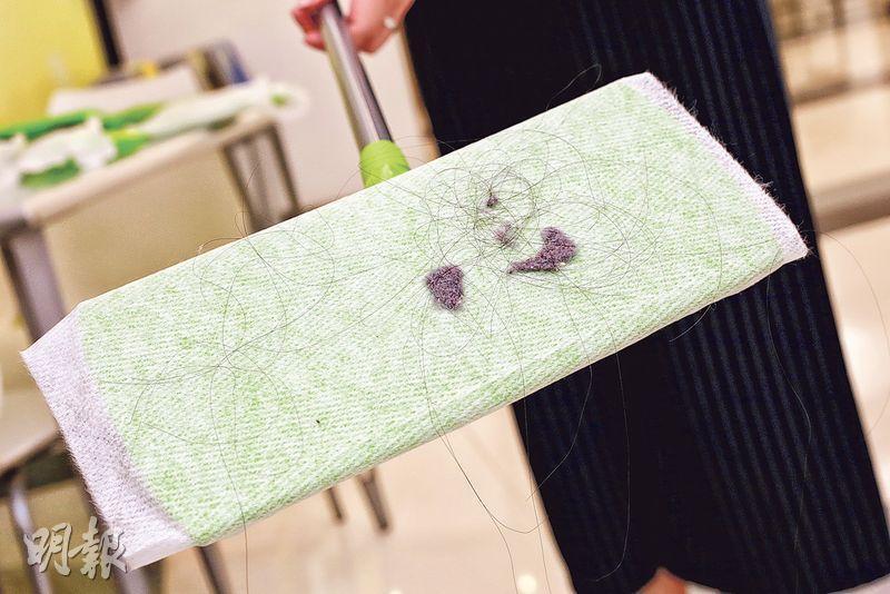 靜電塗層——有靜電纖維塗層的除塵紙,可把塵埃及頭髮吸附在除塵紙上。(呂瑋宗攝)