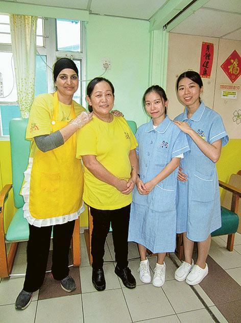 (右起) 保健員崔穎文、吳芷慧、助理員Kausila及廚房助理員Yasmeen。