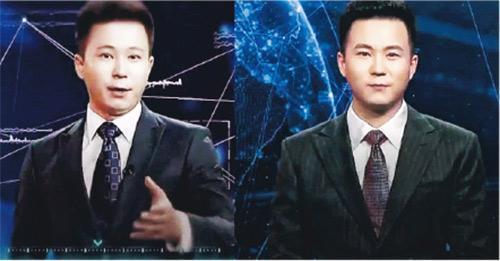 新華社去年以主播邱浩(左)為藍本,推出號稱「全球首個」AI合成主播(右),聲稱只需輸入報道文字,便能自動產生相應片段。(網上圖片)