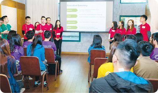 小組匯報——TEAMS day的第二部分為小組匯報,小組按指定物業項目和業務目標,構思業務拓展或市場推廣方案,作提案簡報。(受訪者提供)