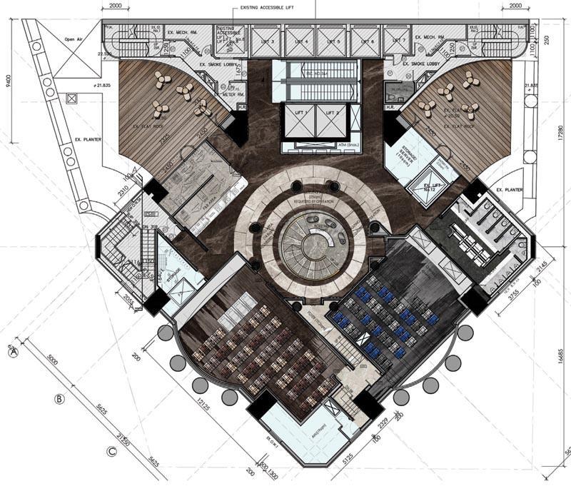 室內設計師的工作涉及大量圖則,當中講求手繪技巧外,也要掌握不同繪圖軟件的技術。圖為鄒卓明公司負責的戲院項目,包括大堂的手繪圖、平面圖及完成品。(圖由 Oft Interiors 提供)