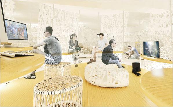 彭源以3D繪圖軟件製作名為「共居‧繭出」的作品,去年於HKDI畢業展覽展出,他的共享空間設計,鼓勵隱蔽青年多與不同人接觸。(HKDI提供)