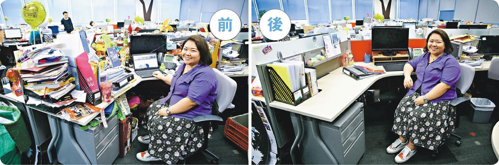「示範單位」——Juliana(圖)的辦公桌被Sharon挑選為「示範單位」,經過1小時分類、掙扎、扔掉及收納後,Juliana桌上只剩下約一成物件,她笑言有「重新入伙」的感覺。(蘇智鑫攝)