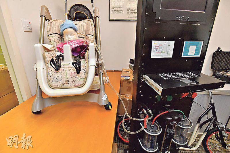 測試窒息風險——人工肺的機器與嬰兒模型相連,用以實時反映測試的產品一旦覆蓋「嬰兒」的口和鼻時出現窒息的風險。(楊柏賢攝)