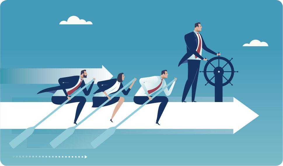 領航前進——領袖猶如船長,稱職的船長能看清目標,調正航道,激發團隊勇往直前。(bizvector@iStockphoto)