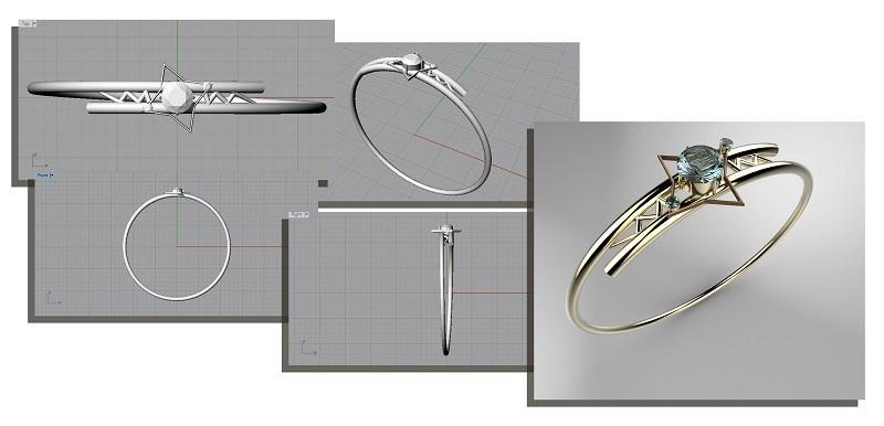 學員會以業界常用的電腦繪圖軟件設計珠寶作品,完成 3D 立體模型製作 (Modeling) 和渲染 (Rendering) 等設計工序。