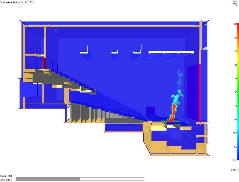 火災產生的煙氣是導致人命傷亡的主要原因之一,圖為消防工程師運用火災和煙氣流動模擬軟件,分析劇院的火災場景,有助預測火災時的煙氣流動及其他相關數據。(圖由 Arup 提供)