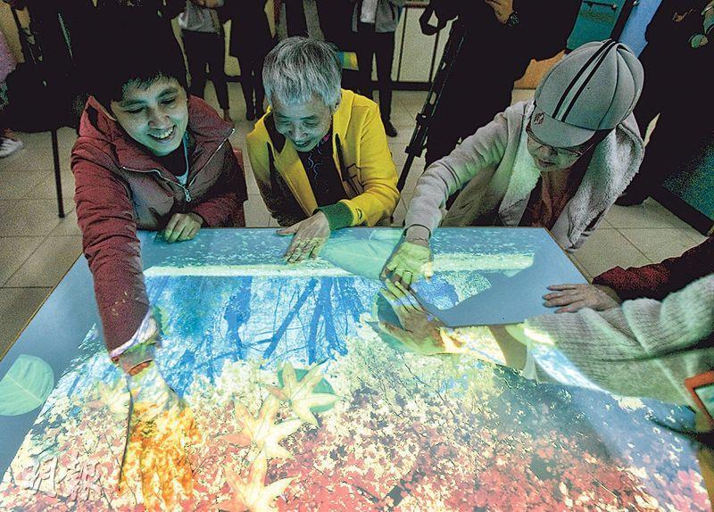 香港心理衛生會順天中心購置的「移動互動地面投影機」內置800多個程式及遊戲,可投影出不同場景,會與用家的動作互動,例如可讓學員撥開投影在桌上的樹葉尋找物品、收集飛來飛去的利巿等。(楊柏賢攝)