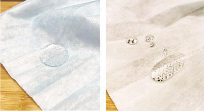 未能吸水——梁煥方測試口罩,分別在面層(左圖)和底層(右圖)灑下水滴,發現原應具有吸水功能的底層未能發揮功效。(鄧安琪攝)