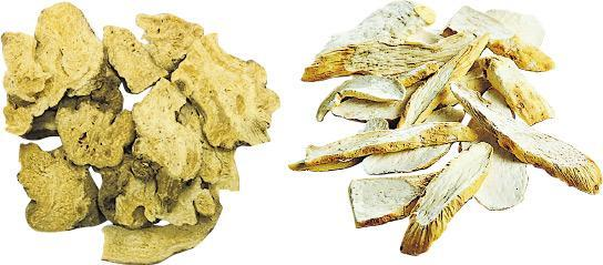 不宜常服——白朮(左)與淮山(右)分別有健脾、補肺氣之效,雖性質偏向平和,但亦不宜經常服用。(資料圖片)