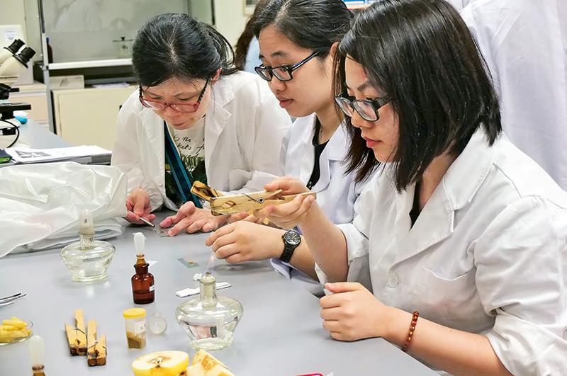 學員在第3階段的課程,會在實驗室進行中藥鑑定,在藥研方面打好基礎。